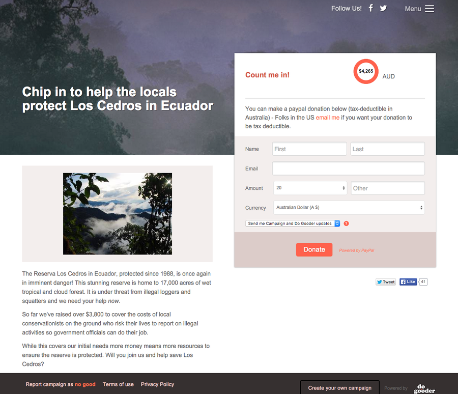 Build a microsite and raise money fast